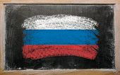 Flag Of Russia On Blackboard Painted With Chalk
