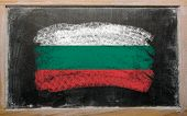 Flag Of Bulgaria On Blackboard Painted With Chalk