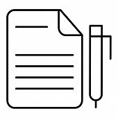 Notes And Pan Vector Icon. Black And White Note Illustration. Outline Linear Business Icon. Eps 10 poster