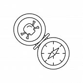 Pirate Compass Icon. Outline Pirate Compass Vector Icon For Web Design Isolated On White Background poster