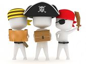 stock photo of treasure chest  - 3D Illustration of Kids Dressed as Pirates - JPG