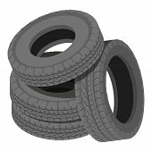 Heap Tyre Icon. Isometric Illustration Of Heap Tyre Vector Icon For Web poster