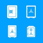 Safe Icon Set. Simple Set Of Safe Vector Icons For Web Design Isolated On Blue Background poster