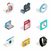 Video Hardware Icons Set. Isometric Set Of 9 Video Hardware Vector Icons For Web Isolated On White B poster