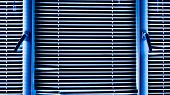 Blue Window Blinds On A Cold Winter Day. Background Of Blinds poster