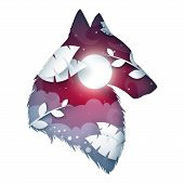 Wolf Origami Illustration. Cartoon Night Landscape. Vector Eps 10 poster