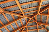 Wooden Frame Of New Roof From Inside. Construction Framework. poster