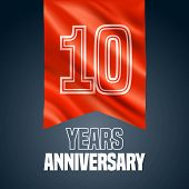 10 Years Anniversary Vector Icon, Logo. Design Element With Red Flag For Decoration For 10th Anniver poster