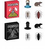 Staff, Packing With Poison And Pests Cartoon, Black Icons In Set Collection For Design.pest Control  poster