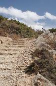 path through mountains ,stone step close up