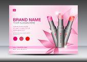 Cosmetics Banner Design Template Vector Illustration, Lipstick Mask Bottle Isolated, Brochure Flyer, poster