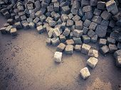Heap Of Small Cobblestones For The Construction Site poster