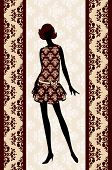 Vintage silhouette of a girl on a decorative background vector