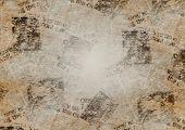 Old Grunge Newspaper Collage Paper Texture Horizontal Background. Blurred Vintage Newspaper Backgrou poster