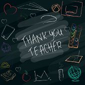 Teacher S Day Handdrawn Poster With The Words Thank You Teacher . Vector Illustration. poster