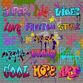 Graffiti Vector Graffito Of Brushstroke Lettering Or Graphic Grunge Typography Illustration Set Of S poster