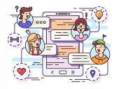 General Chat Group In Messenger. Chatting Between Friends. Vector Illustration poster