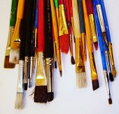 Artist'S Paint Brushes Facing Down