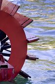 Close up of a paddle wheel of a steam