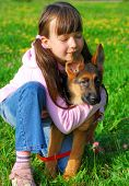 stock photo of german shepherd dogs  - Young girl with eyes closed kneeling in a field hugging her young German Shepherd sitting beside her - JPG