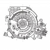 Electric Motor Section Representing The Internal Structure And Mechanisms. It Can Be Used To Illustr poster