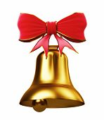 Golden bell with red bow