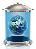 3D illustration of an Earth planet in storage tank.