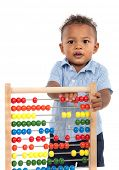 Adorable One Year Old African American Boy Playing Wooden Abacus Isolated