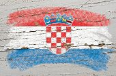 Flag Of Croatia On Grunge Wooden Texture Painted With Chalk