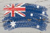 Flag Of Australia On Grunge Wooden Texture Painted With Chalk