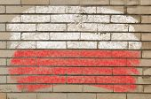 Flag Of Poland On Grunge Brick Wall Painted With Chalk