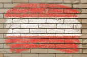 Flag Of Austria On Grunge Brick Wall Painted With Chalk