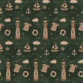 Vintage Army Nautical Sailor Pattern. A Vintage, Modern, And Flexible Pattern For Brand Who Has Matu poster