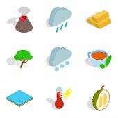 Eco Vital Icons Set. Isometric Set Of 9 Eco Vital Vector Icons For Web Isolated On White Background poster