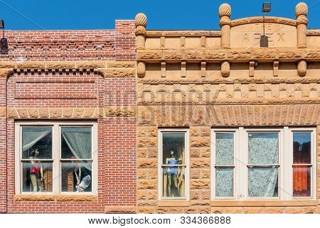poster of Close Up Of Historic Buildings In The Center Of  Deadwood, South Dakota, Usa (national Historical La