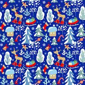 Childish seamless Christmas winter pattern with snowy firs, trees, reindeer, sleigh with presents, c poster