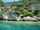 The Sunken Ruins On The Island Of Kekova Dolichiste Of The Ancient Lycian City Of Ancient Simena, Wa poster