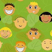 children faces background. friendship pattern