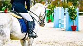 Horse And Rider In Uniform Performing Jump At Show Jumping Competition. Horse Horizontal Banner For  poster
