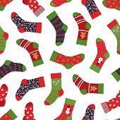 Christmas Socks Pattern. Seamless Texture With Winter Clothing Elements And Ornaments. Vector New Ye poster