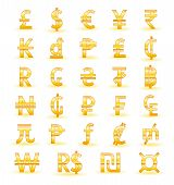 Golden currency symbols of the world