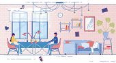 Banner Married Couple Working At Home, Cartoon. Husband And Wife In Everyday Ojed Sit At Working Sto poster