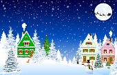 Houses, Village, Forest, Trees. Winter Rural Landscape. Christmas Eve Night. Snowflakes In The Night poster