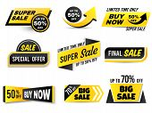 Sale Banners. Special Offer Banner, Low Price Tags And Super Sale Badges. Shopping Sales Offer Stick poster
