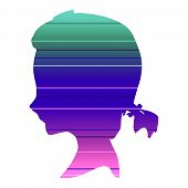 Teen Profile Silhouette. Cute Adolescent Girl Portrait. Ponytail Hairstyle. Gradient Paint Horizonta poster