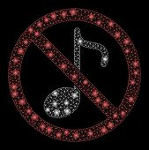 Glowing Mesh No Music Note With Glow Effect. Abstract Illuminated Model Of No Music Note Icon. Shiny poster