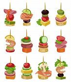 Canape Of Appetizer Cartoon Vector Illustration On White Background .canape For Buffet Set Icon. Vec poster