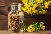 Concept Of Homeopathy And Herbal Treatment - Dried Hypericum Perforatum Know As Tutsan Or Saint-john poster