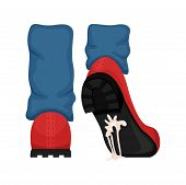A Man In Red Shoes With Gum Stuck To The Sole. Failure. Vector Illustration. poster