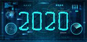 Technology 2020 New Year Concept In Futuristic Style Hud. Digital Banner. Design Future 2020 Tech Ba poster